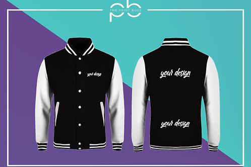 Contrast Varsity Jacket - Print (K)