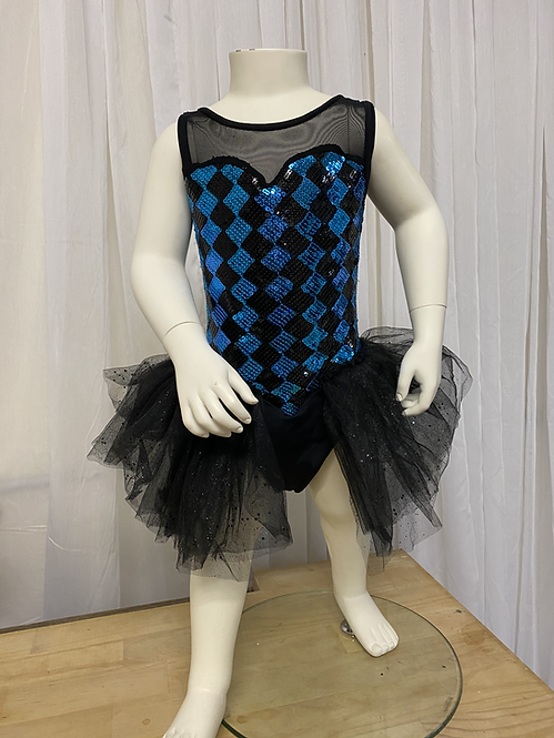 Blue Sequin Checkered Tutu