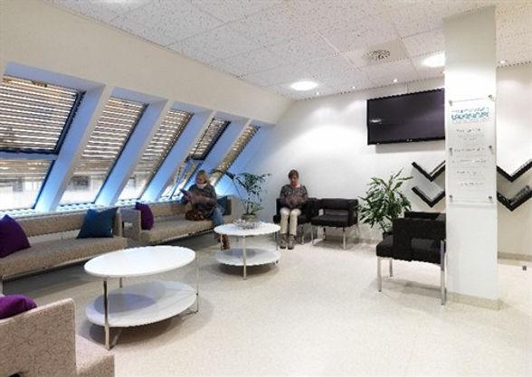 Venteværelset på Malmbryggen tannklinikk.