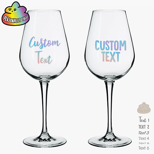 Custom Wine Glass Decal Message
