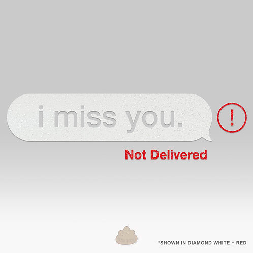 I Miss You Text Message Not Delivered Car Decal Glitter White Diamond Stars Sparkly Sticker Sad Boi Sad Girl