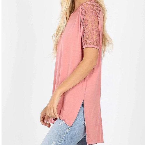 Dusty Rose Lace Short Sleeve w/Long Back