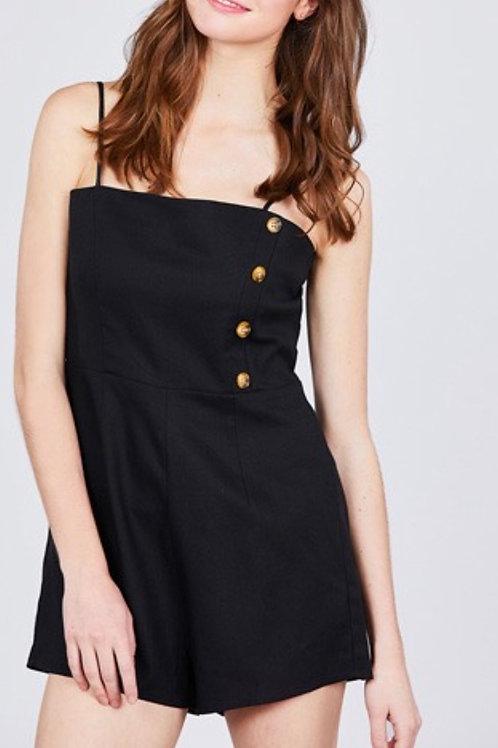 Black Button Linen Romper