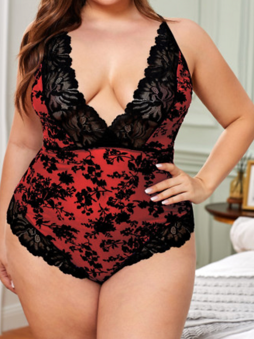 Red & Black Lace Bodysuit w/ Keyhole Back