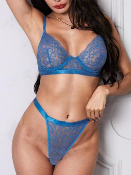 Blue Lace Bralette Set w/ underwire