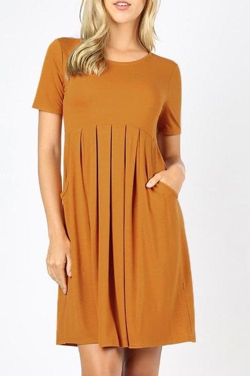 Mustard Jersey Dress w/ Pockets