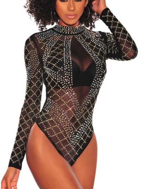 Black Studded Rhinestone Long-sleeve Mesh Bodysuit