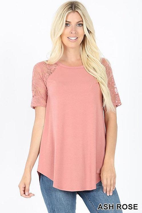 Ashe Rose Short Lace Sleeve Shirt