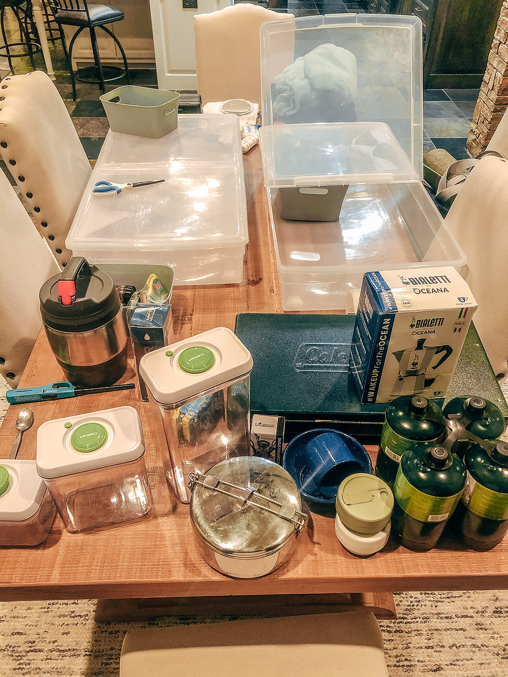 Kitchen gear and storage in a pile