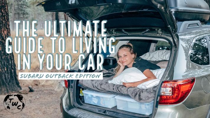 Girl in the trunk of a car camper