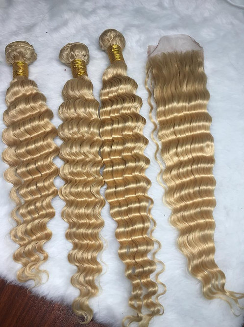 Russian Blonde Deep Wave Closure
