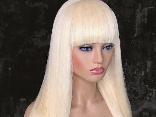 Indian Bang Straight Full Lace Blonde Wig