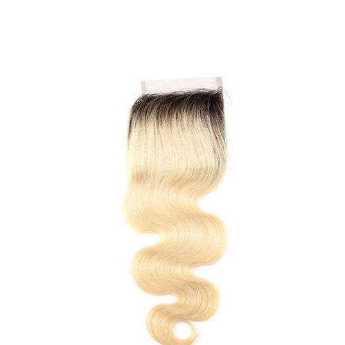 Vietnamese Denim Dark Root Blonde Closure