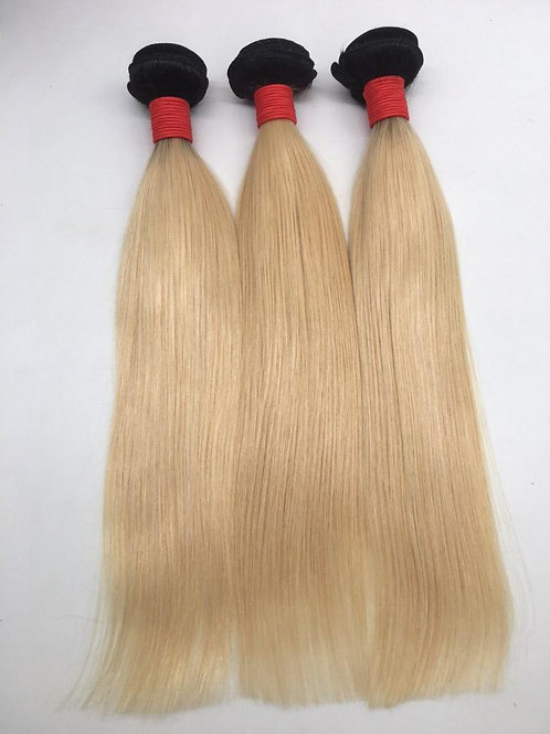 Vietnamese Denim Blonde Dark Root Straight Bundle Deal