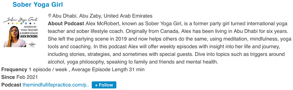 Press - Top Sober Podcast - Sober Yoga Girl - SYG - Podcast