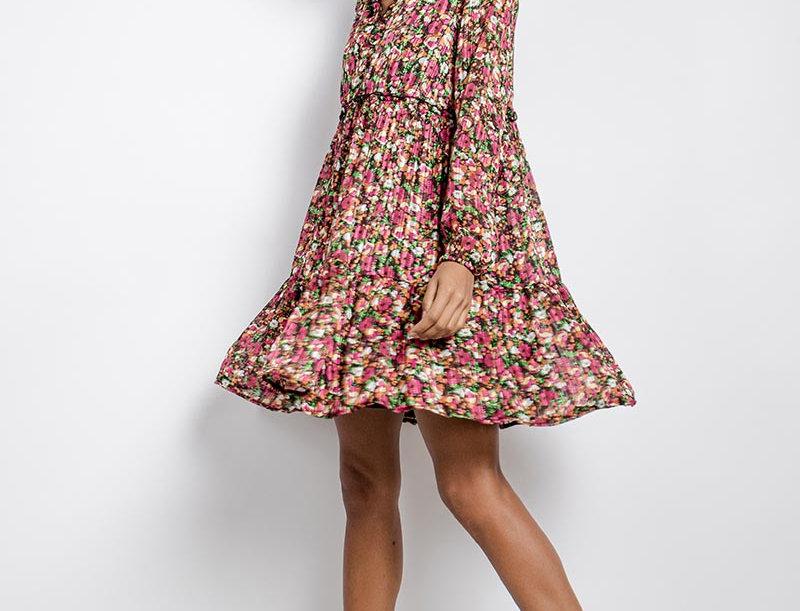 Kleid Flower pink/schwarz