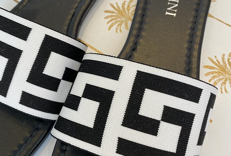 Sandale schwarz/weiß