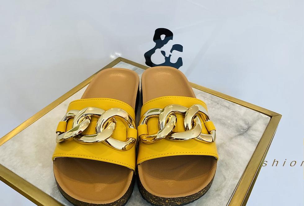Sandale gelb & gold