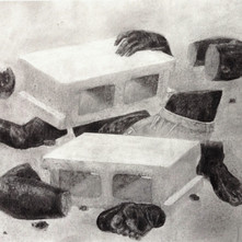 Catastrophe of Liberation, 2017, charcoal on paper