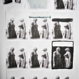Monument Sketches, Acrylic on printed paper, 2008