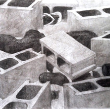 Under Construction, 2017, charcoal on paper