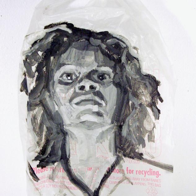 Scandal Bag, Acrylic on plastic bag,2011