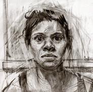 Self Portrait, Charcoal on paper, 2012