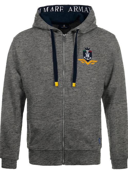 Man's sweatshirt with hood, open