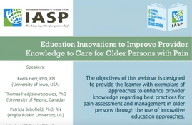 Education Innovations to Improve Provider Knowledge to Care for Older Persons with Pain