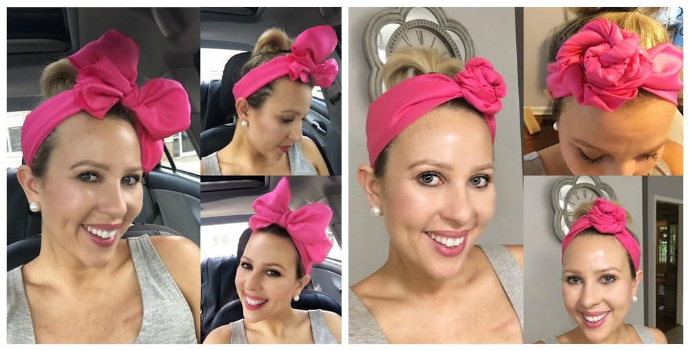 Short, post chemotherapy hair styled in various ways using a bow as an accessory.