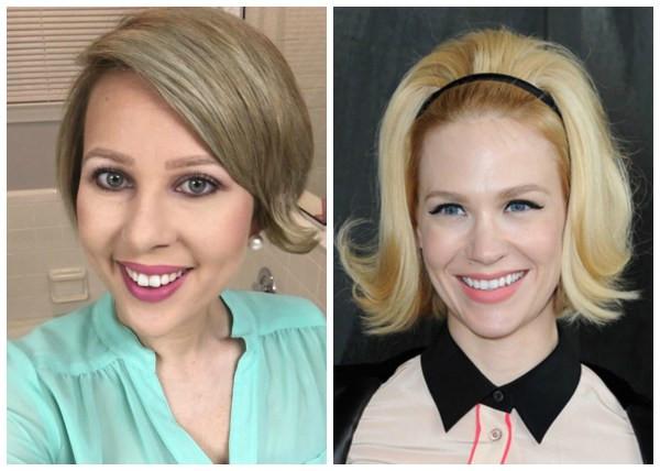 Short, post chemotherapy hair styled into a Betty Draper bob.