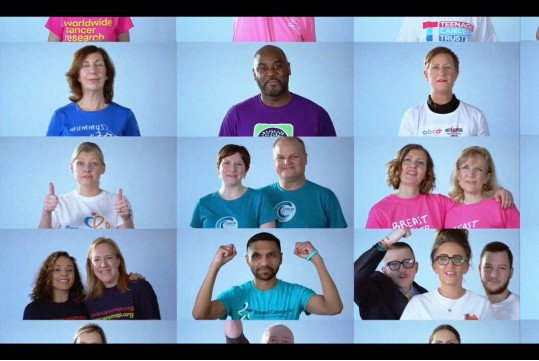Montage of images showing all of the people from the different charities that came together for World Cancer Day 2020