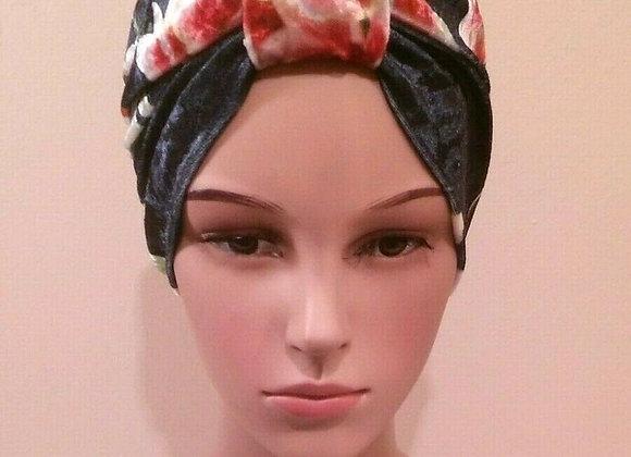 Velvet Flower Turban Chemo Hat