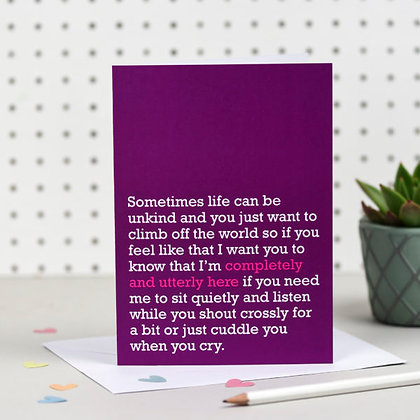 'Completely and Utterly Here For You' Cancer Card