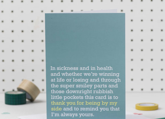 'Thank You For Being By My Side' Cancer Card