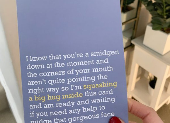 'Squashing A Big Hug Inside' Cancer Card