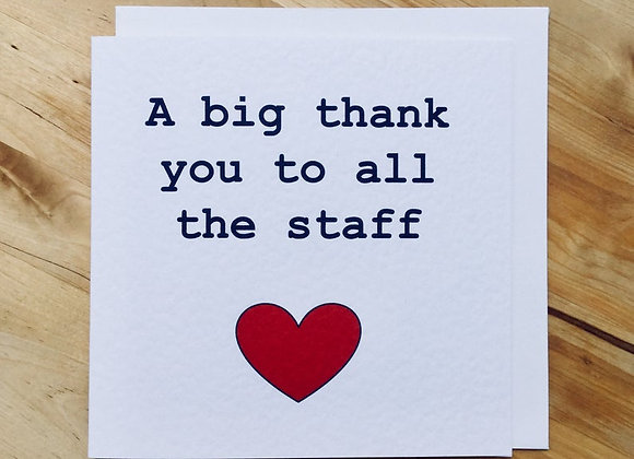 'Thank You To All The Staff' Cancer Card
