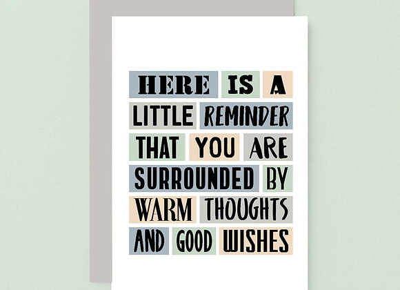'Warm Thoughts And Good Wishes' Cancer Card