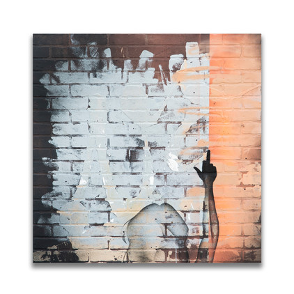 """48"""" x 48"""" on faux brick panel with 3/4'' wood framed backing"""