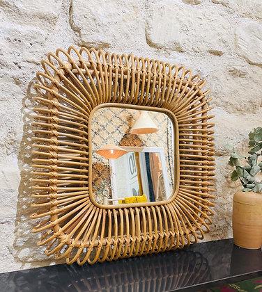 Miroir rotin 60x60 cm