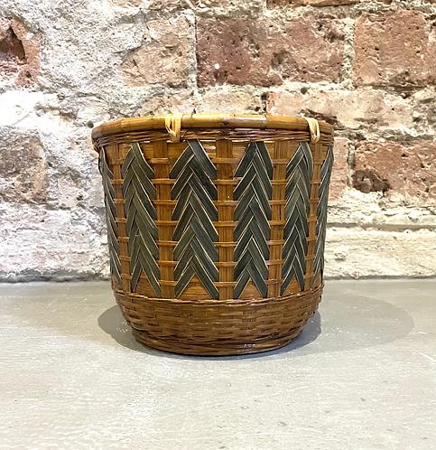 Cache-pot bambou bicolore