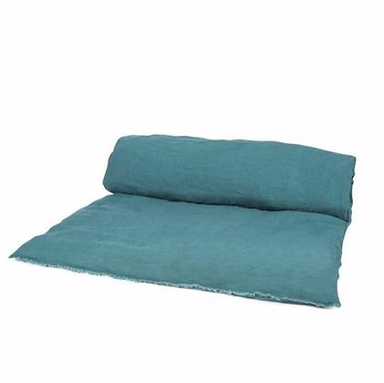 Sofa cover lin lavé paon