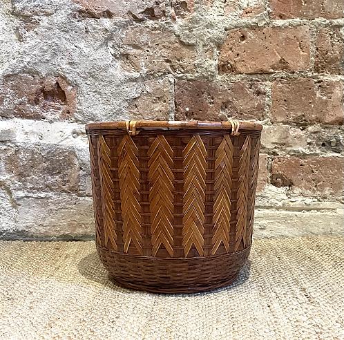 Cache-pot bambou couleur cognac