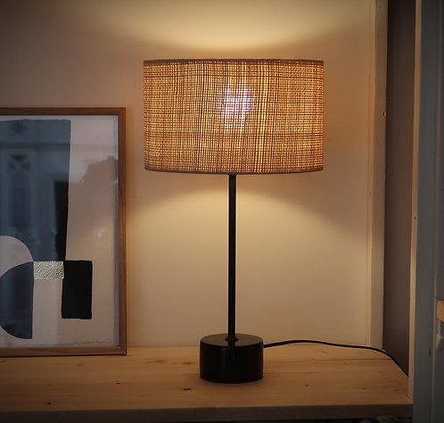Lampe métal marbre et raphia naturel