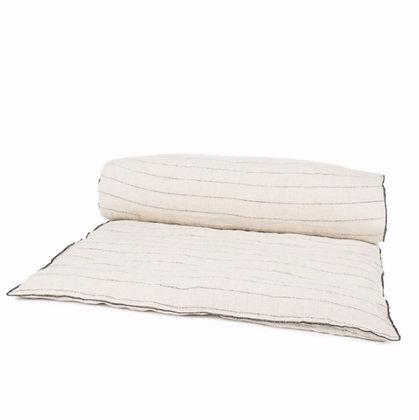 Sofa cover lin lavé blanc rayé noir Calvi