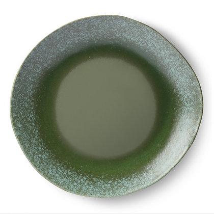 Assiette céramique verte 70's