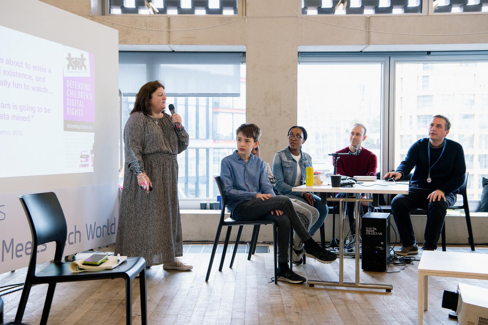 Ethics of Children's Data panel (from left to right: Jen Perrson (DefendDigitalMe), Young Coders Group), Leo Ratledge (CRIN), - Photo: Alex Wojcik
