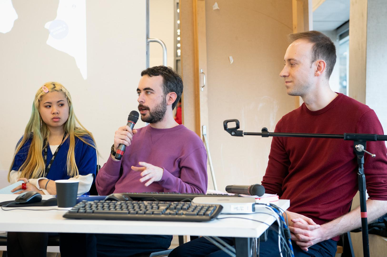 Surveillance panel (from left to right: Maria Than (CRIN), Ioannis Kouvakas (Privacy International), Griff Ferris (Big Brother Watch)) - Photo: Alex Wojcik