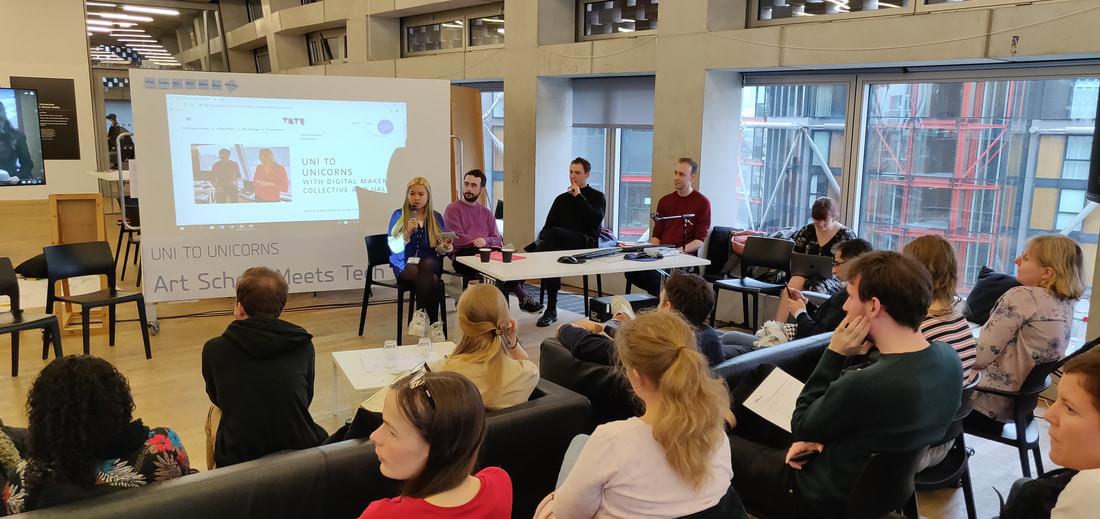 Surveillance panel (from left to right: Maria Than (CRIN), Ioannis Kouvakas (Privacy International), Griff Ferris (Big Brother Watch), Leo Ratledge (CRIN)) - Photo: Alex Wojcik