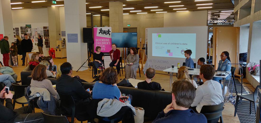 Ethics of Children's Data panel (from left to right: Renata Samson (Open Data Institute), Leo Ratledge (CRIN), Jen Persson (DefendDigitalMe)) - Photo: Alex Wojcik